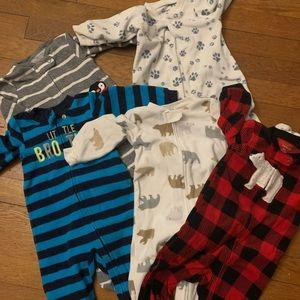 Set of 5 Fleece Zip Up Footie Pajamas